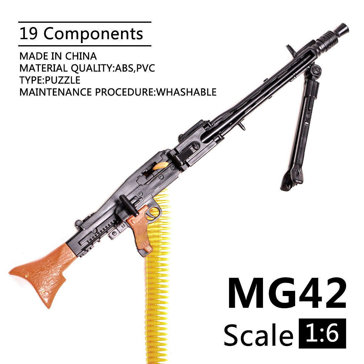 1/6 Scale MG42 Toy Gun Model Assembly Puzzles Building Bricks Gun Soldier Machine Gun Fit 12
