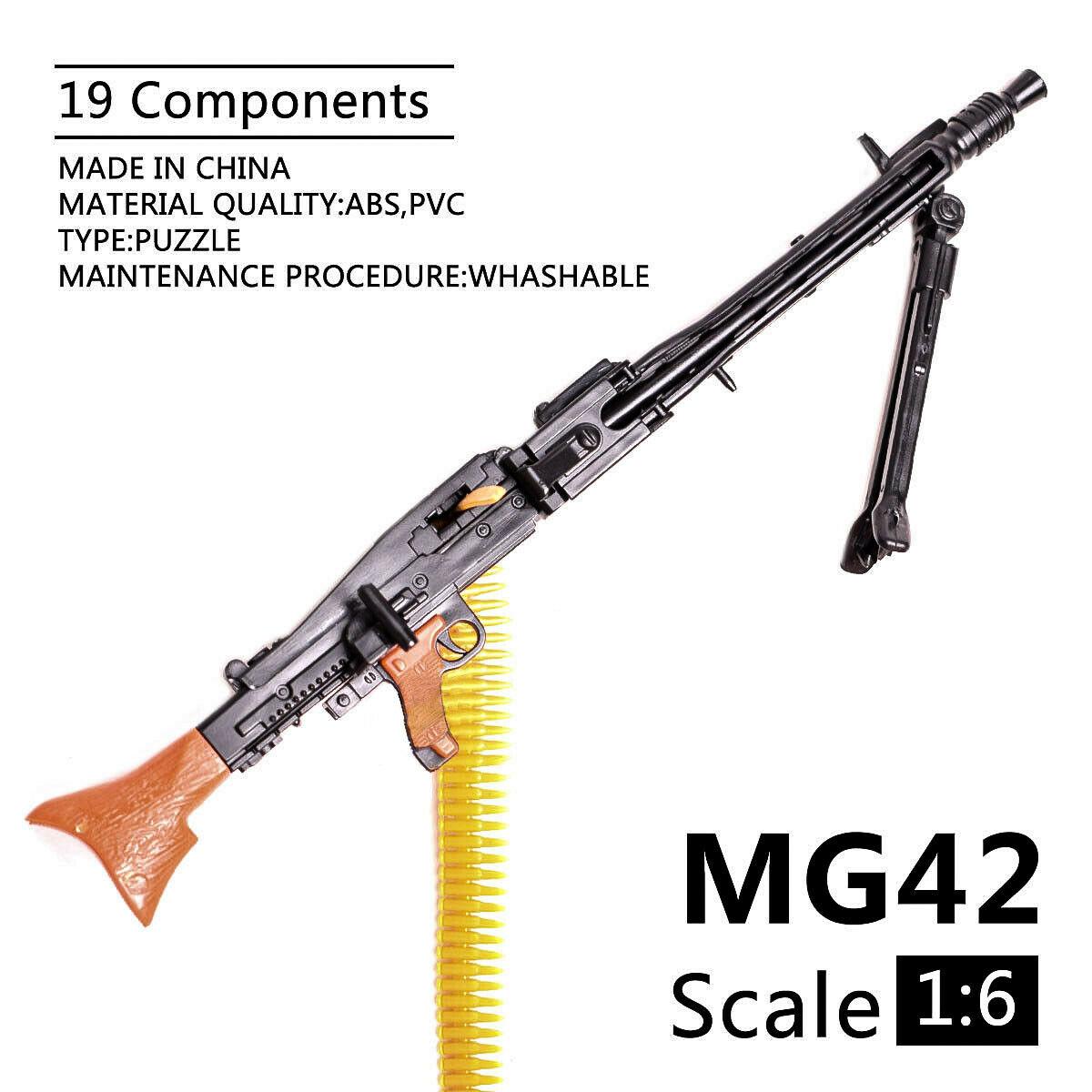 1/6 Scale MG42 Toy Gun Model Assembly Puzzles Building Bricks Gun Soldier Machine Gun Fit 12