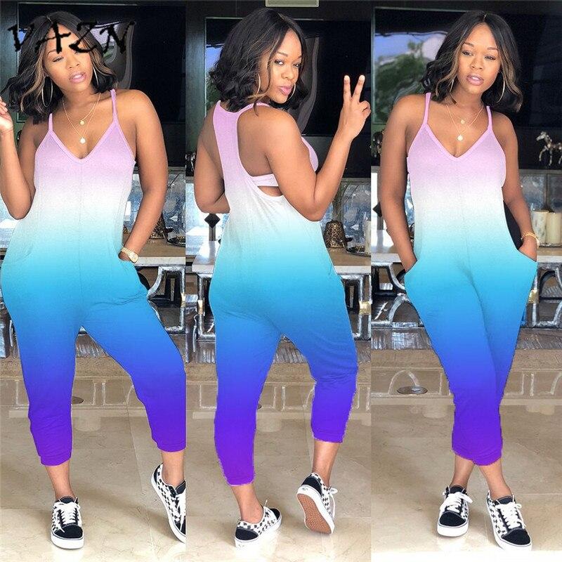 VAZN 2018 Sexy Fashion High Street Design Women   Jumpsuit   Print Spaghetti Strap Bodycon Romper Y101