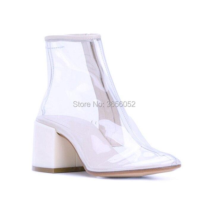 Tacco Alto Mujer Blocco Pioggia D'estate Stivali 2018 Qianruiti Cerniera Anke Trasparente White Scarpe Patchwork Mid Zapatos Laterale Pvc Botas 64O4wqSp