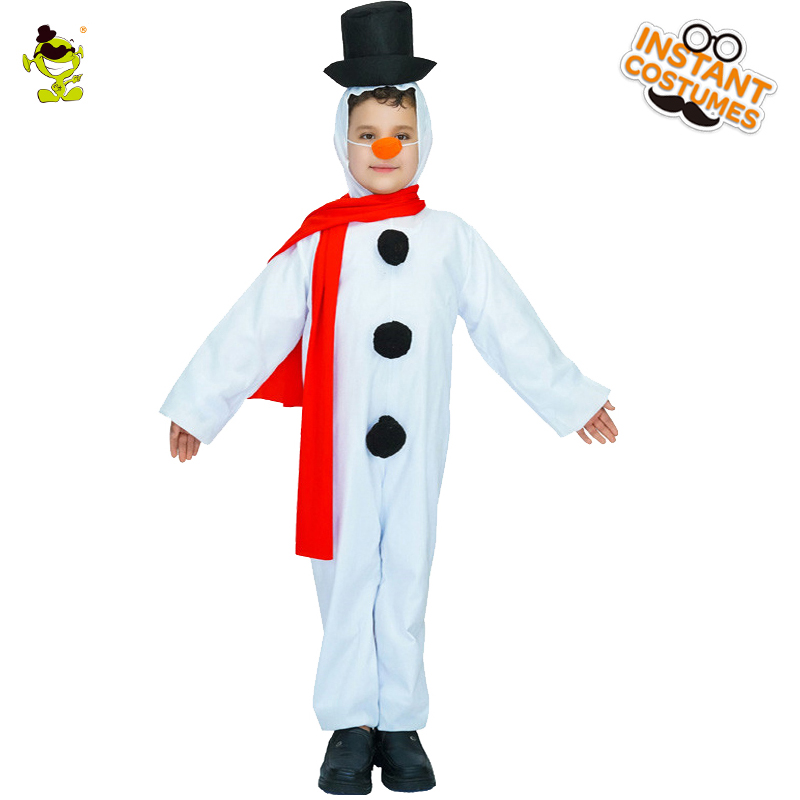 Popular Snow Boy Costume Christmas With Red scarf Decoration Fancy Dress Role Play Outfits Clothings For Carnival Party