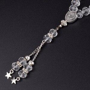 Image 5 - 8mm Faceted Clear Crystal Beaded Bracelet 33 Prayer Beads Islamic Muslim Tasbih Allah Mohammed Rosary for Women Men Jewelry