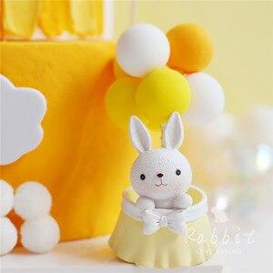 Image 3 - Ins 핑크 문 베어 스타 토끼 장식 생일 축하 케이크 토퍼 어린이 베이비 파티 베이킹 웨딩 용품 귀여운 선물