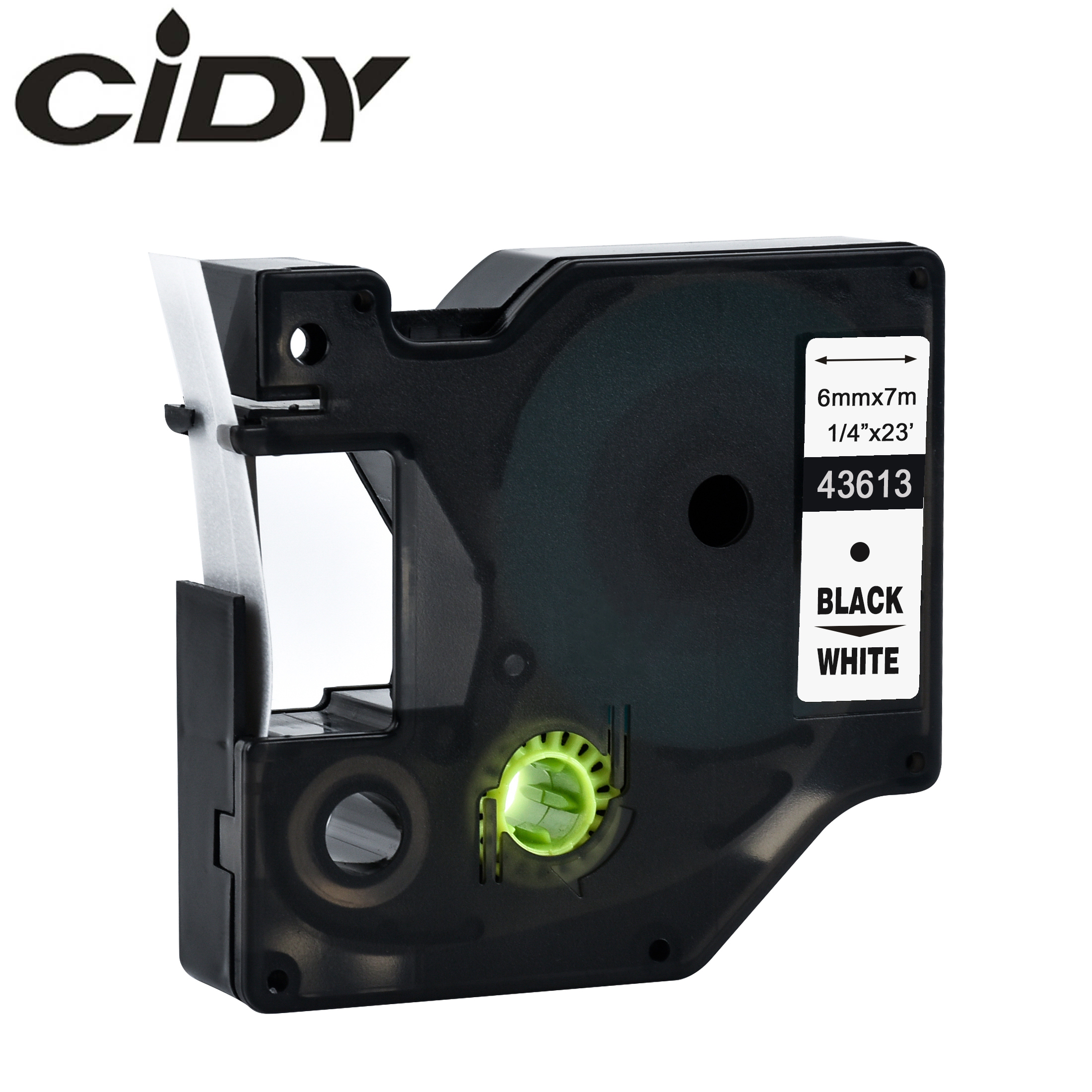 CIDY 1pcs Compatible Dymo D1 6mm Label Tape 43613 43610 43618 Black On White Label Ribbons For Dymo Label Manager 160 280 210