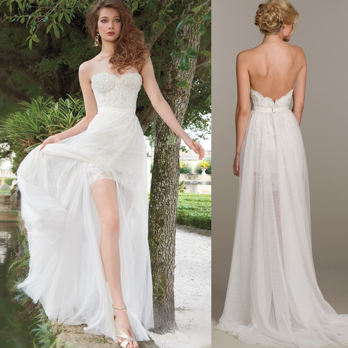 Besfine 2015 White Ivory High Low Wedding Dress Short Front Long Back Vestidos De Noiva Curto Detachable Train In Dresses From Weddings Events On