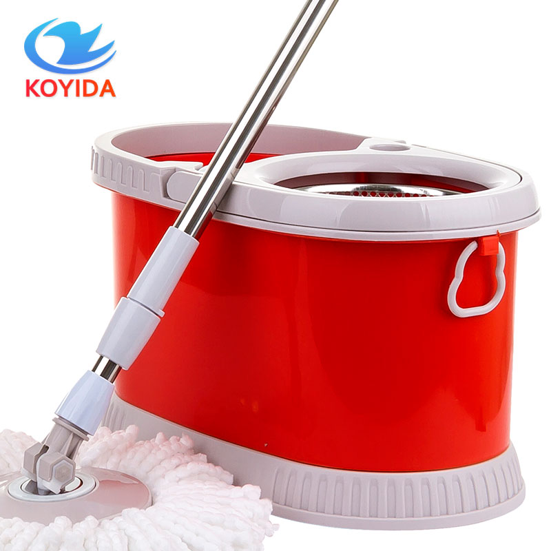 KOYIDA Rolling Magic Spin <font><b>Mop</b></font> Bucket Stainless Steel Double Drive With 1 Microfiber <font><b>Mop</b></font> Head Household Floor Cleaning Sets