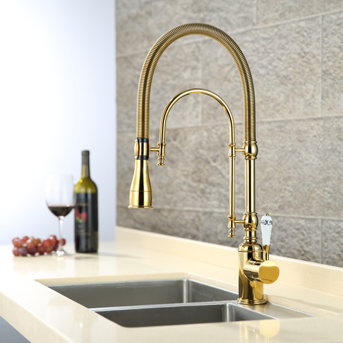 Online Shop Solid Brass Kitchen Faucet With Golden Finish Swivel Spout Pull  Down Sink Mixer Tap Single Handle Cold And Hot Deck Mounted | Aliexpress  Mobile