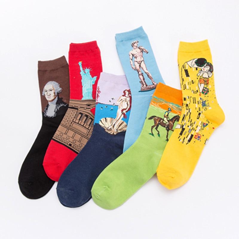 Starry Night Mona Lisa Socks Oil Painting Happy Man Cotton Socks Funny Socks Premium Modern Renaissance Socks Art Male