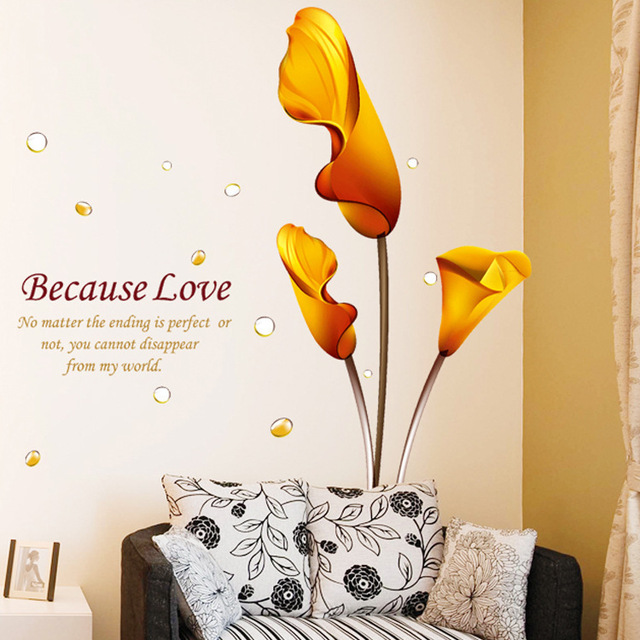 New Fashion Yellow Bloom Flower Common Callalily Wall Stickers Sweet Love  Quotes Bedroom Living Room Decoration