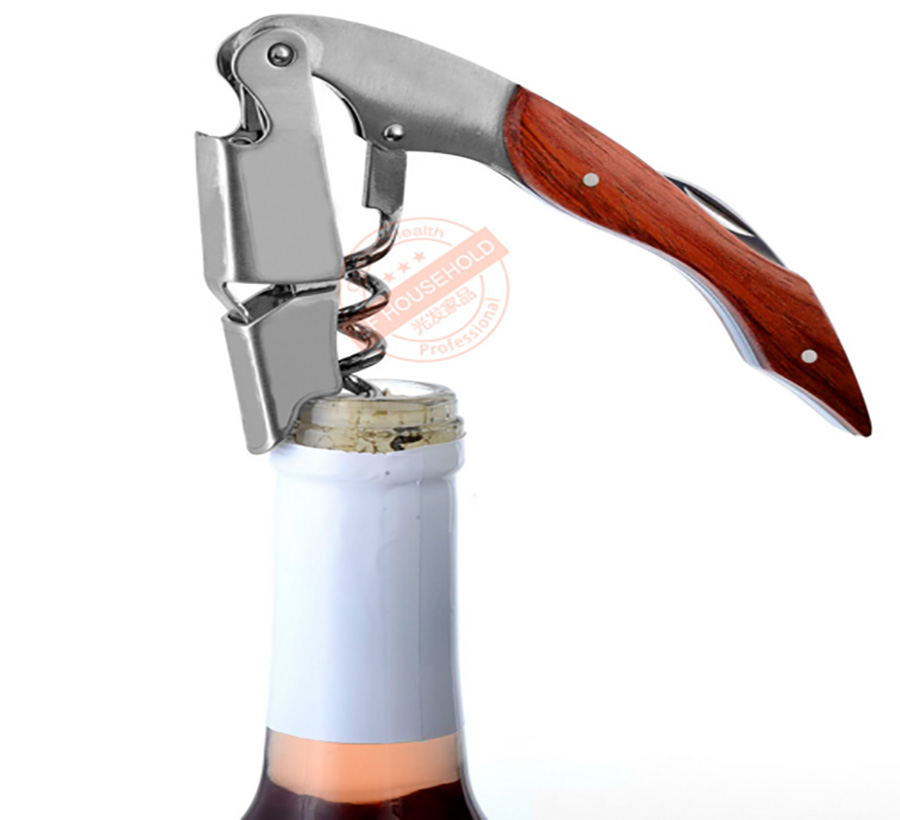 Professional Wood Handle Folding Wine Bottle Opener Waiters Corkscrew With Foil Cutter For Sommeliers And Bartenders Servers