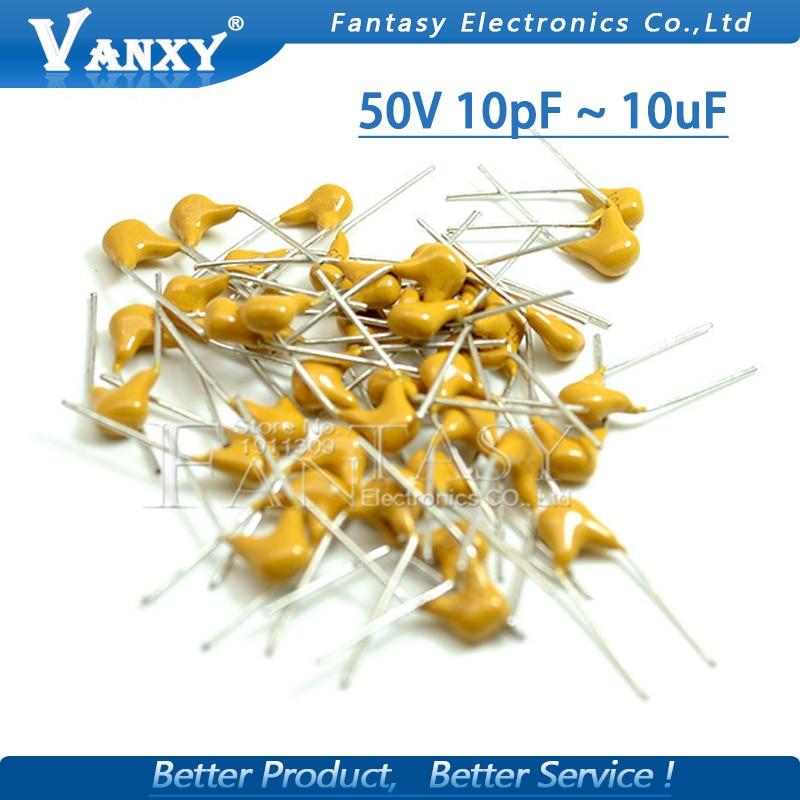 100Pcs 50V monolithic ceramic capacitor 10PF ~ 10UF 22PF 47NF 220NF 1NF 4.7UF 1UF 100NF 330NF 0.1UF 102 104 105 106 103 473 334