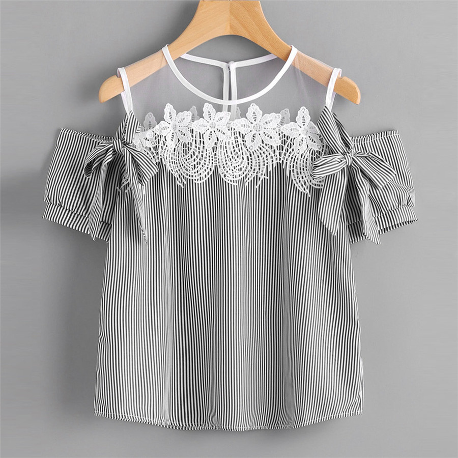 New Style Women Blouse Short Sleeve Off Shoulder Lace Striped Casual Tops Sexy Fashion Hot Sales