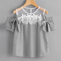 New Style Women Blouse Short Sleeve Off Shoulder Lace Striped Casual Tops Sexy Fashion Hot Sales Blouse Wolovey#25