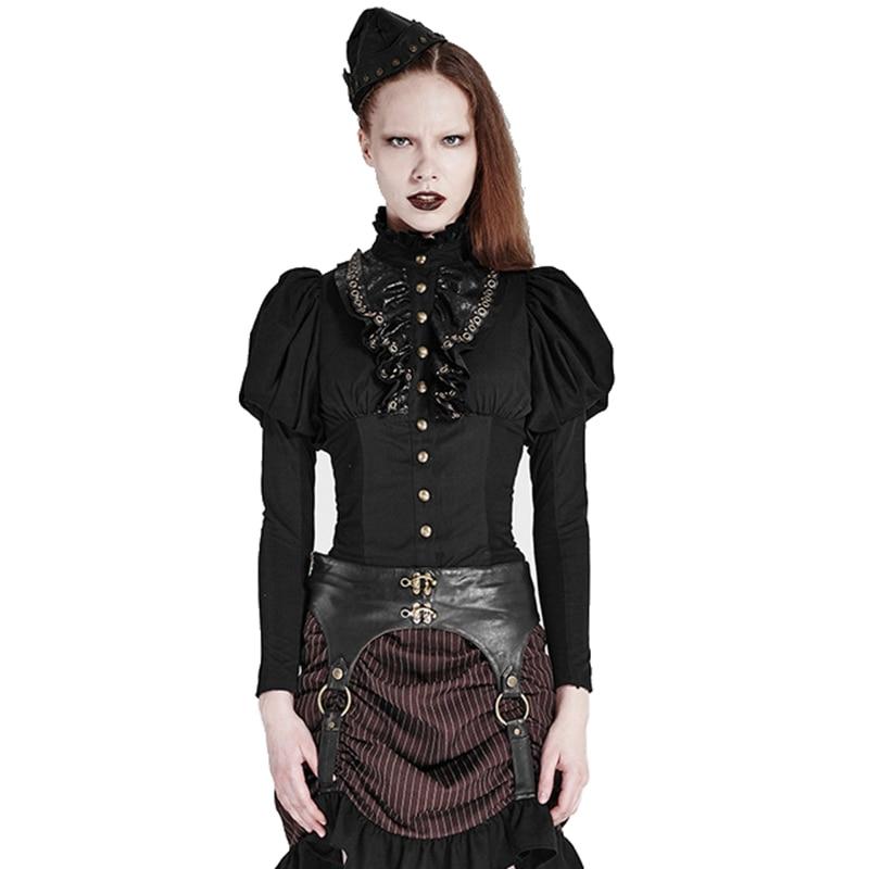 Nouveau Lolita Punk gothique Rock boutons dorés lanterne manches dentelle col chemises noir femmes Blouse