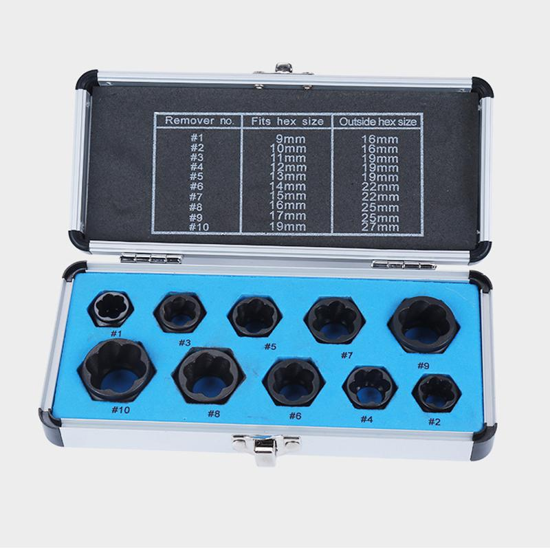VNK 11Pieces Damaged Bolt Nut Screw Remover Extractor Nut Removal Socket Set Kit with Box Home Portable Threading Hand Repair Tools,Nut Extractor,Black