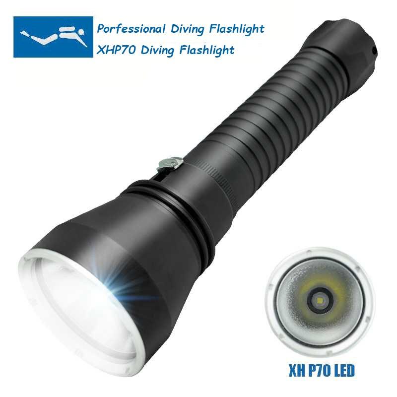 WasaFire Professionnel Plongée Plongée lampe de Poche XHP70 130 M Sous-Marine Tactique LED Torche lampe de Poche Lampe Lanterna Continu Gradation