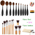 Professional 10pcs ToothBrushd Shape Oval Makeup Brush Set 11pcs Bamboo MULTIPURPOSE Foundation Powder Kits pinceaux maquillage