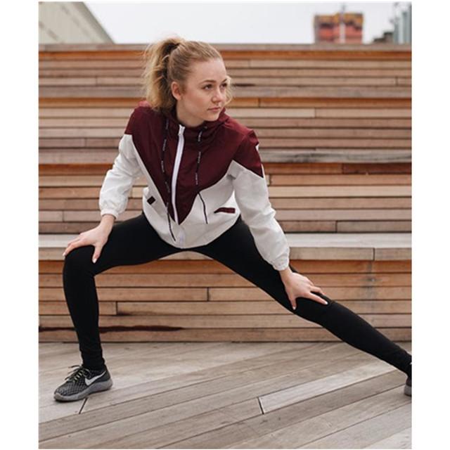 ZAN.STYLE Spring Autumn Fashion Hooded Two Tone Windbreaker Jacket Zipper Pockets Casual Long Sleeves Feminino Coats Outwear