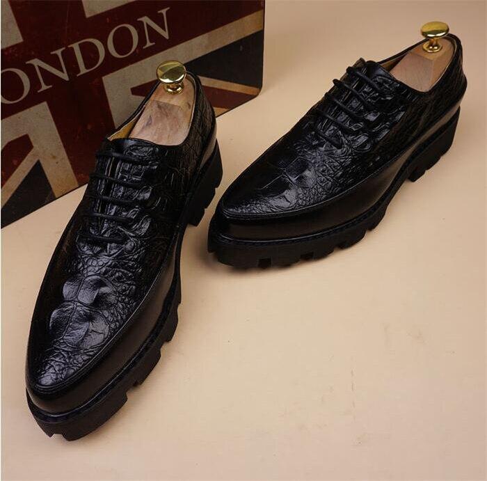 De Homens Vinho Outono up Toe Inverno Em Britânicos Preto Pic Sapatos Aumentou vermelho Couro Relevo Casuais Lace Apontou as Ur47r0