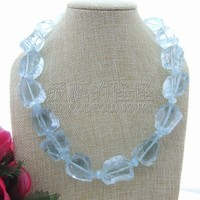 N061814 20 25mm light Blue Crystal Rough Nugget Necklace