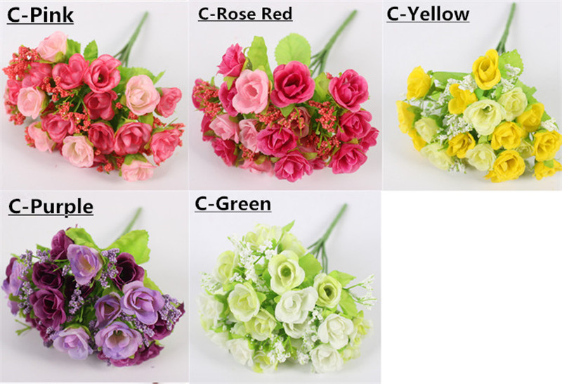 Autumn 15 Heads Silk Roses Bract Artificial Flower For Wedding And Christmas Decor 10