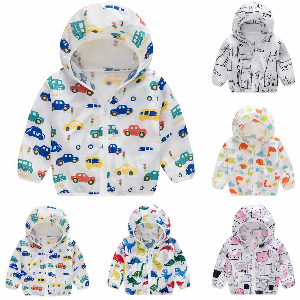 Hot Sale Brand Baby Girl clothes long sleeveToddler Kids Summer Sunscreen Jackets Printing Hooded Outerwear Zipper Coats