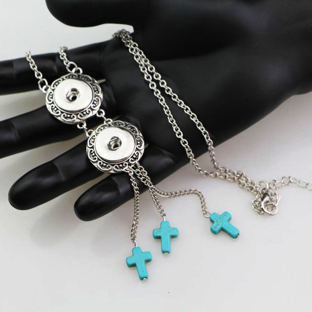 New Fashion Bohemian Cross Stone Beads Metal 18mm Snap Buttons Long Link Chain Necklace Maxi Jewelry For Women Girls
