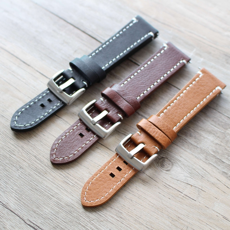 Prix pour Bracelet En Cuir des Hommes de main Pour Broyât, 18mm/19mm/20mm/21mm/22mm Noir Bracelet, Montre Accessoires