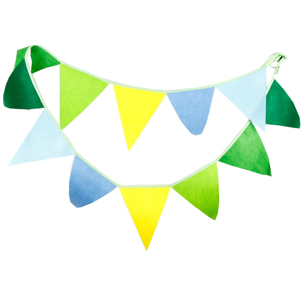 2.8m 12 Flags Non-woven Banner Pennant Cotton Bunting Banner Booth Props Photobooth Birthday Party Decoration Baby Shower Dec