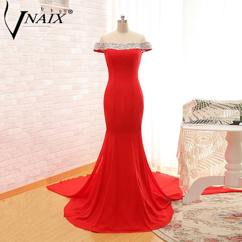 Abendkleider Vnaix E1041 Flügelärmel mit Perlenstickerei Pailletten Roter Chiffon Abiballkleid Real Photo robe de soiree