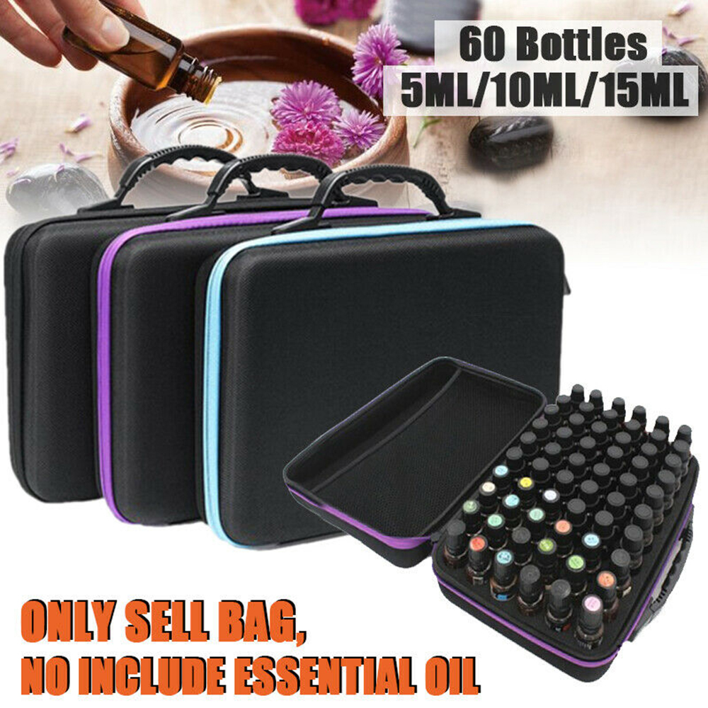 New 60 Bottle Portable Essential Oil Storage Case 5ML~15ML Holder Aromatherapy Hand Bag