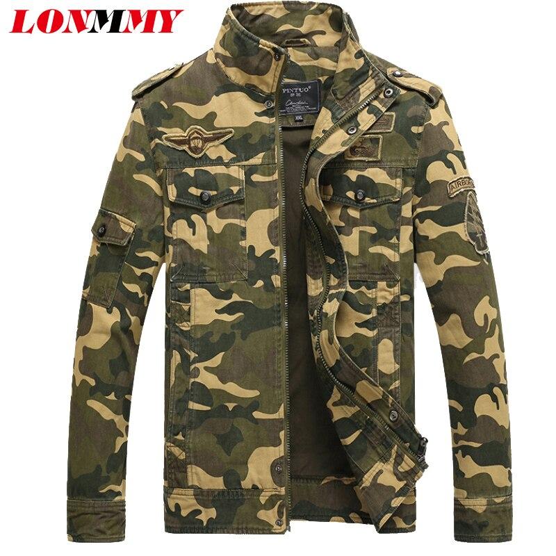 LONMMY M-6XL xhaketa dhe mantel pambuku burrë Ushtri Mens me xhaketë ushtarake Bombë burrash burra pallto veshje marke rrobat e erës