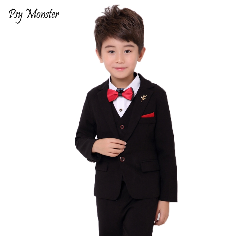 3a9c6aa4e6055 Boys Formal Weddings Dress Suits Kids Gentleman Party Blazer Vest Pants  3pcs Tuxedo Clothing Set Child Performance Costume N47