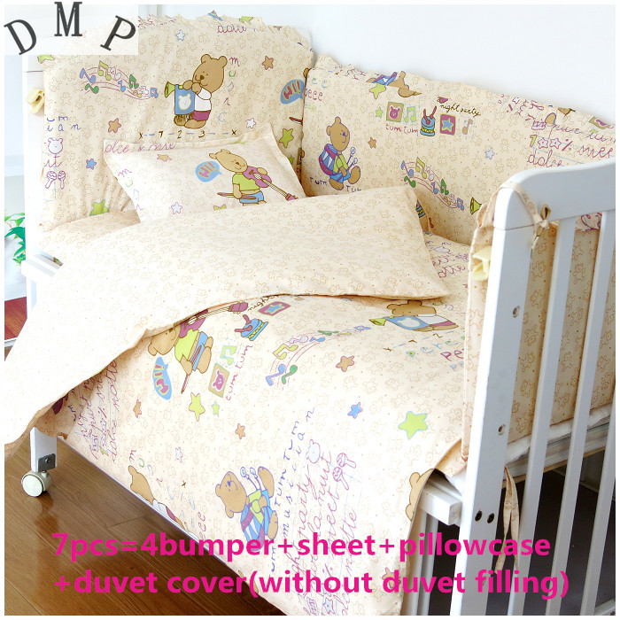 Promotion! 6/7PCS  baby bedding set 100% cotton curtain crib bumper baby cot sets baby bed , 120*60/120*70cm promotion 6pcs baby bedding set cot crib bedding set baby bed baby cot sets include 4bumpers sheet pillow
