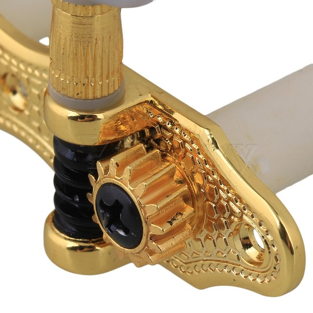 Yibuy Classical Guitar HeavyTuners Machine Heads Golden plated Pearled Pegs