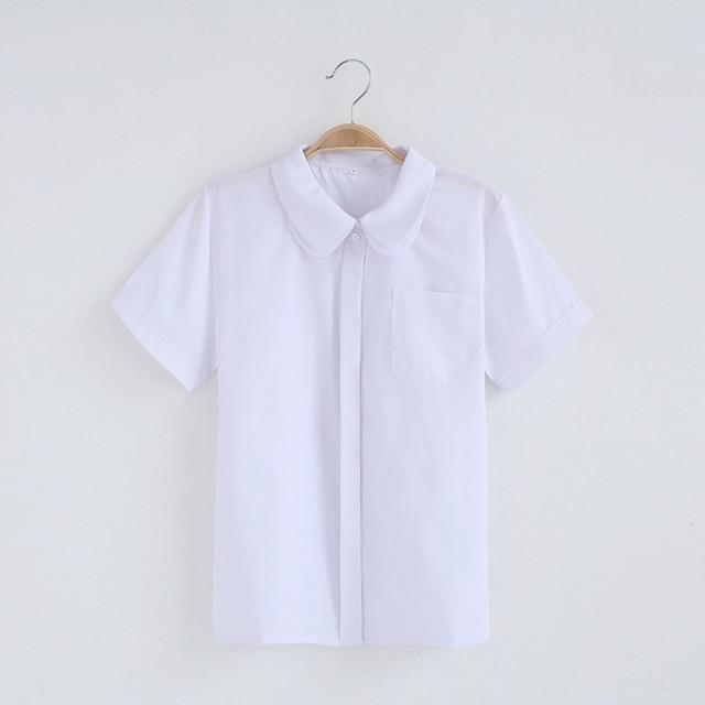 2ba2f17f857937 R$ 82.65  Meninas bonitos Meninas Uniforme Escolar Japonês JK Branco Blusa  Camadas Duplas Gola Peter Pan Camisa de Manga Curta Tops em Blusas & ...