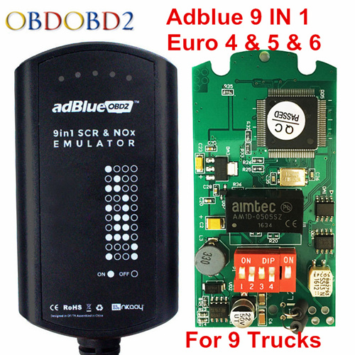Latest Adblue Emulator 9 in 1 8 in 1 Adblue Emulation Tool 8in1 With NOx Sensor Adblue Emulator 9IN1 Support Euro 4 5 6 Truck 10 pcs hot new arrival truck adblue obd2 renault def nox emulator via obd2 adblue obd2 for renault dhl free