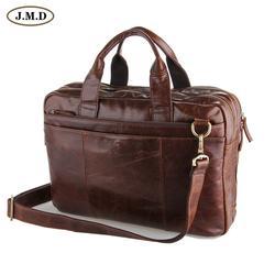 J.M.D кожаная мужская коричневая сумка для ноутбука Сумка Портфель 5 шт./лот 7092-2C
