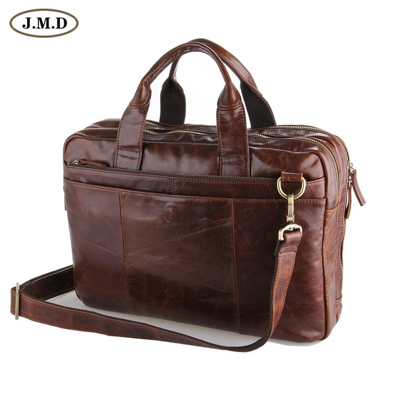 цена на J.M.D Leather Men's Brown Laptop Bag Handbag Briefcase Messenger 5 PCS/LOT 7092-2C