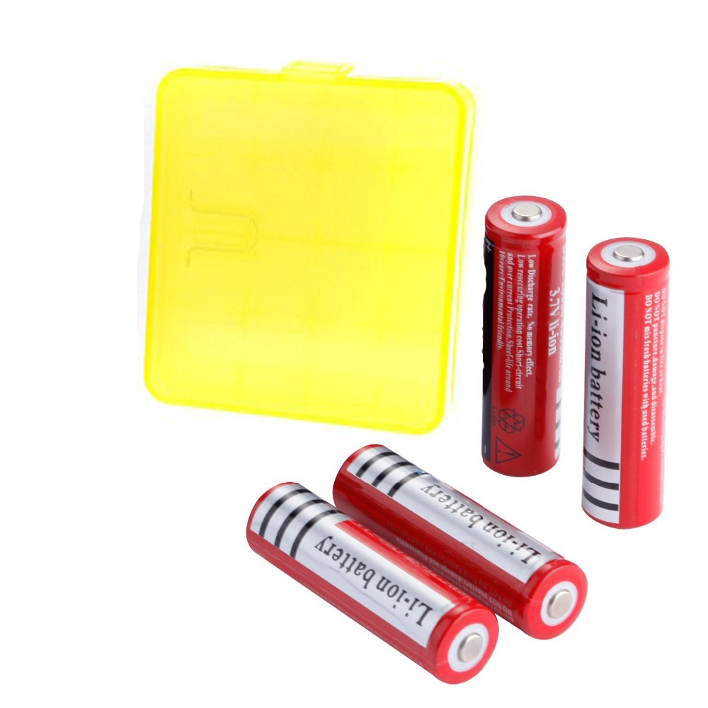GTF 4pcs 3.7V 18650 Battery 4200mAh Li-ion Rechargeable Battery For Flashlight with one Holder Box For 4PCS 18650 Batteries