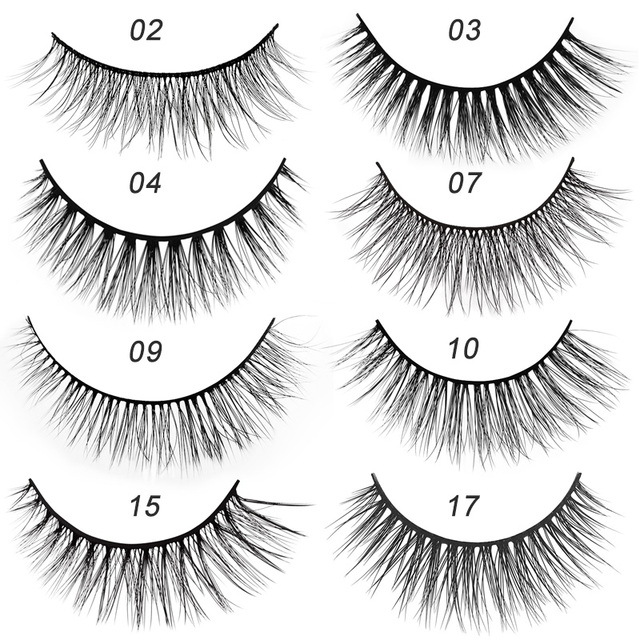 new 3 pairs mink eyelashes natural false eyelashes 3D mink lashes makeup soft fake eyelash extension hand made eye lashes #X09 4