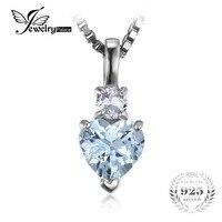JewelryPalace Serce Miłość 0.8ct Aquamariness Biały Topazs Bez Łańcucha Wisiorek 925 Sterling Silver Biżuteria Dla Kobiet