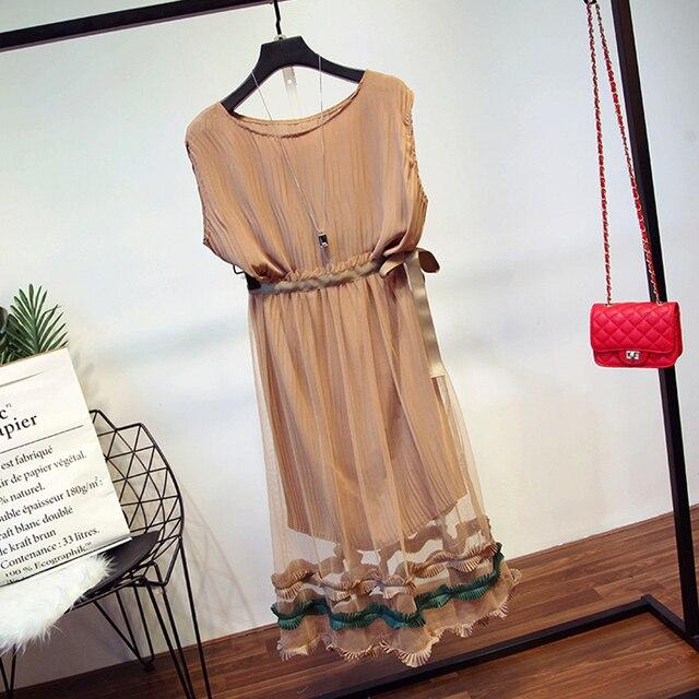 EXCELLENT QUALITY New Fashion 2017 Designer Runway Suit Set Women's Sleeveless Long Tank Top Gauze Skirt Set