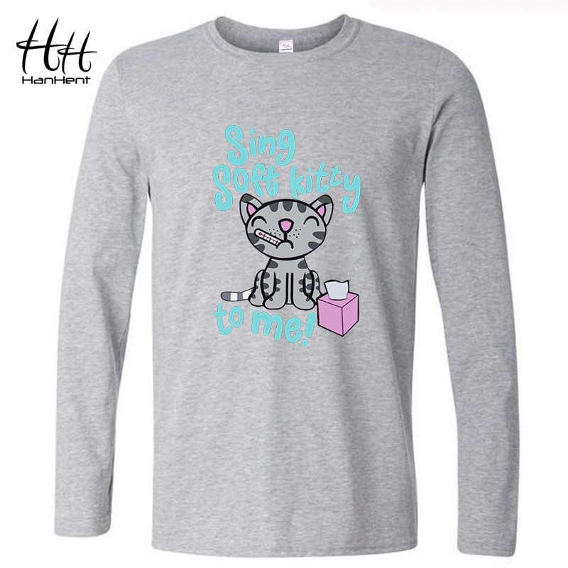 HanHent Soft Kitty camisetas de manga larga de algodón para hombre lindas camisetas gato primavera estilo Casual impreso la teoria Big Bang T camisa