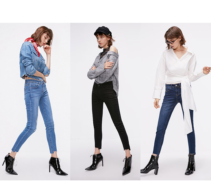 ONLY Women's autumn new low waist slim cropped jeans| 118349591 11