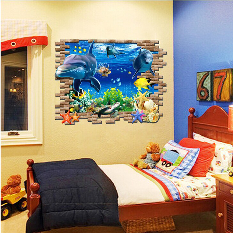 Diy large size fish tank 3d dull polished decoration wall stickers for living room bedroom - Decorative fish tanks for living rooms ...