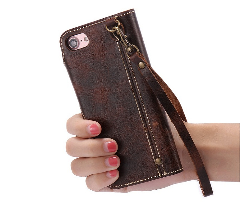 brown genuine leather case for iphone 6 plus 6s plus luxury card wallet flip strap cover