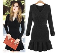 2015 Spring Autumn Winter Fashion Dress Women European American Style Slim Dresses Cross Long Sleeved V