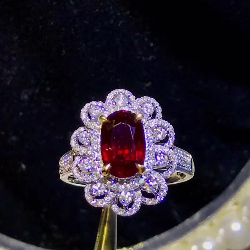 gemstone jewelry factory wholesale classic luxury 18k yellow gold South Africa real diamond natural ruby ring for women wedding 1