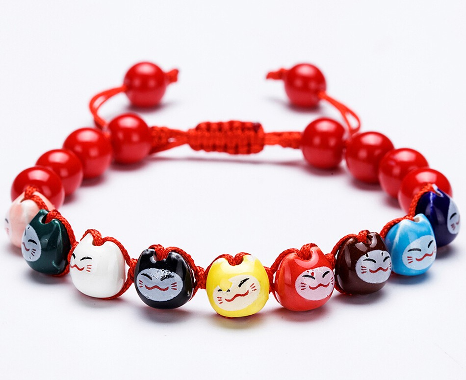 Ceramic Lucky Cat Maneki Neko Cute Japanese Fortune Bracelet